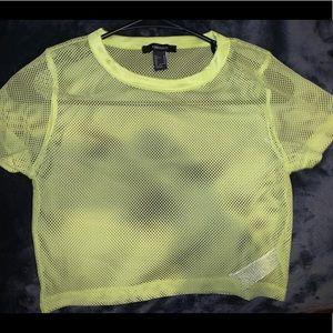 Neon Green/Yellow Mesh Cropped Shirt